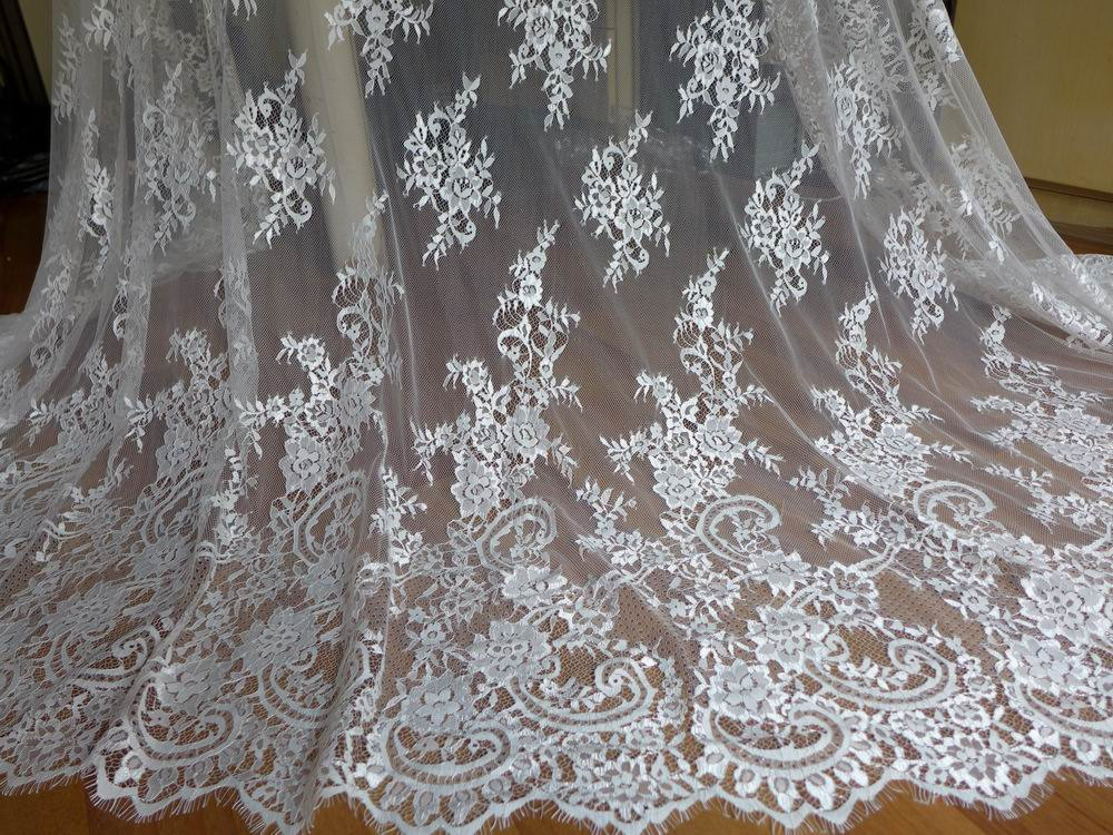 Ivory wedding gown lace fabric chantilly floral fabric for Wedding dress lace fabric
