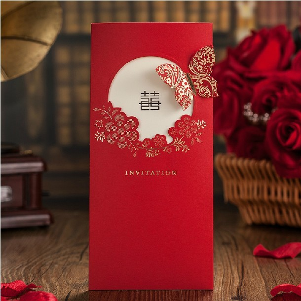 Red Laser Cut Erfly Wedding Invitations 2017 Business Card Invitation Personalized Printing Envelope Invitacion Para Bodas