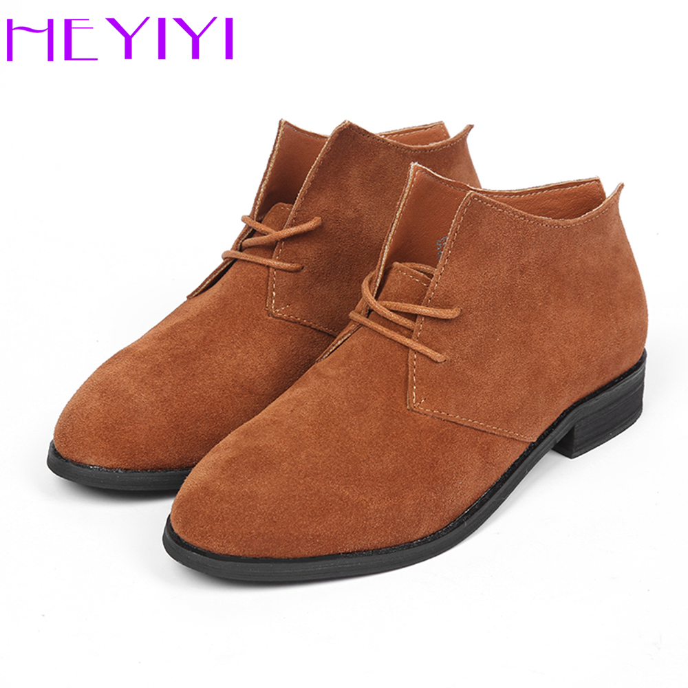 HEYIYI Women Boots Winter Short Boots Genuine Leather Lace-up Fashion Pointed Toe Flat Heel Shoes Cow Suede Black Green Yellow ladies casual lace up flat ankle boots fashion round toe plain cow leather boots for women female genuine leather autumn boots