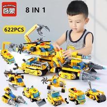 ENLIGHTEN 622Pcs City Engineering Chariot Technic Building Blocks LegoINGLs Bricks Playmobil Toys for Children Christmas Gifts