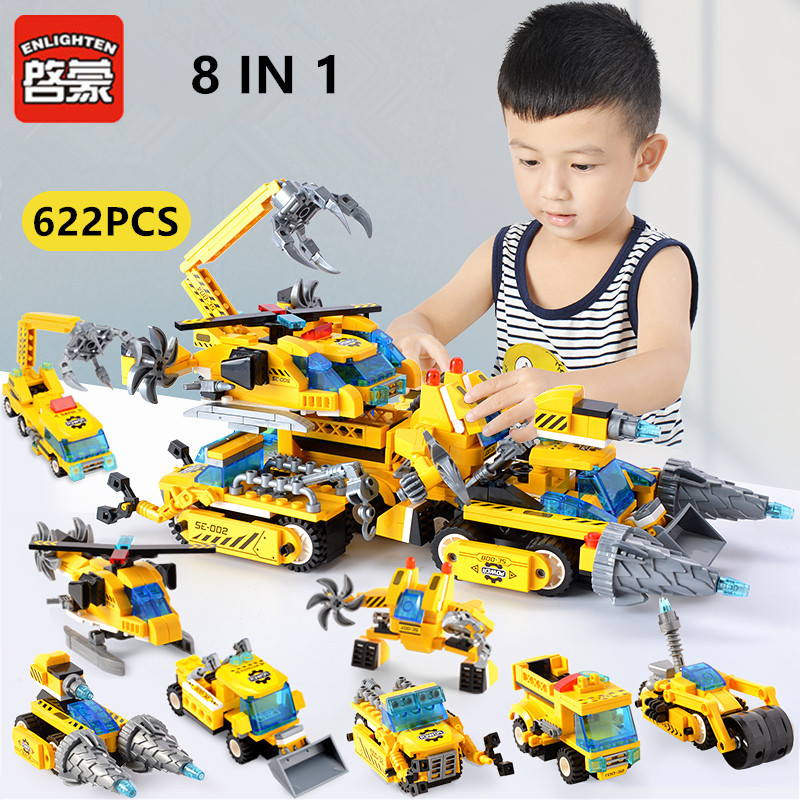 ENLIGHTEN 622Pcs City Engineering Chariot Technic Building Blocks Sets LegoINGLs Brinquedos Bricks Playmobil Toys For Children