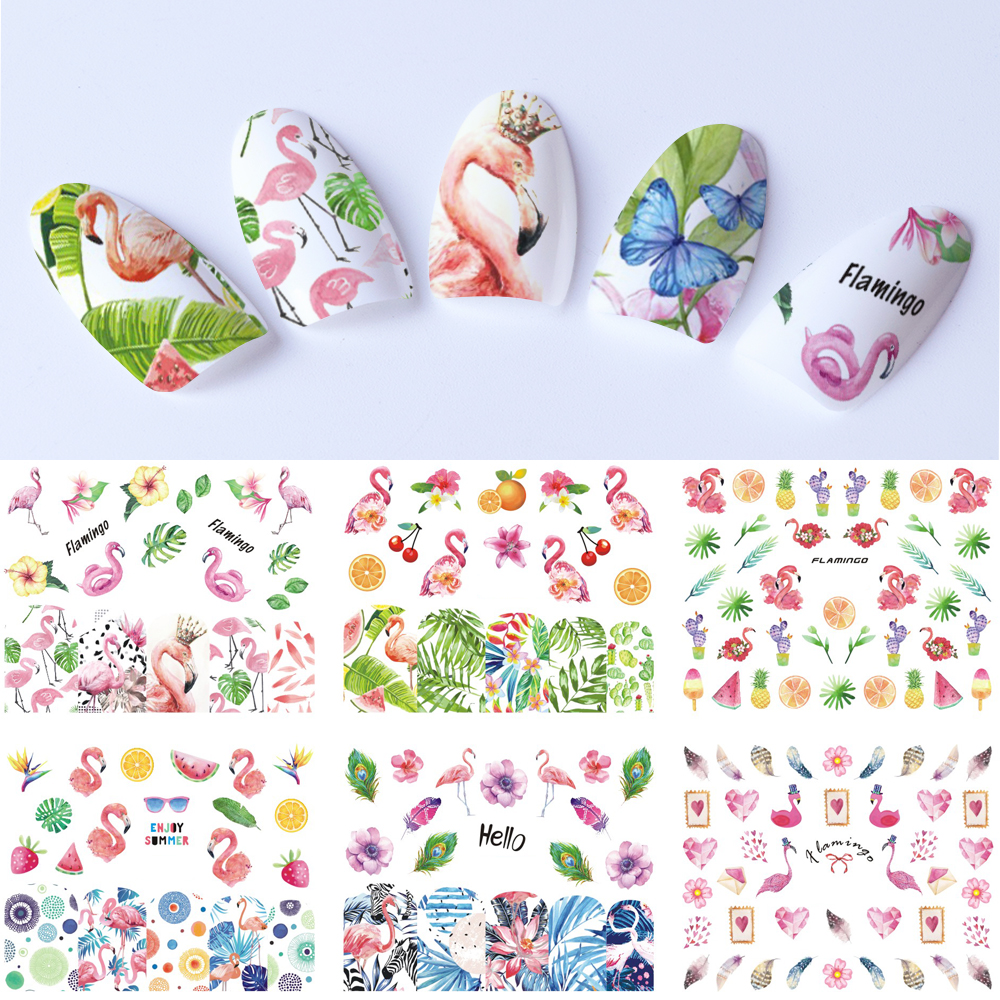 Nail Sticker Flamingo Water Decals Nails Art Full Cover Tips Colorful Cartoon Animal Plant DIY Decoration Manicure SABN913-924