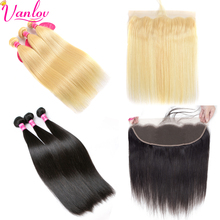 Vanlov Peruvian Hair Straight Blonde Bundles With Frontal Lace Human Hair Straight Hair 3/4 Bundles With Closure Non Remy Black