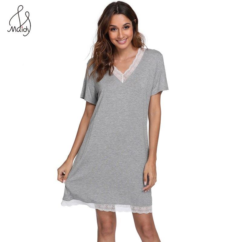 Maidy Female Sleepwear Dress Short Sexy Lace Patchwork Nightgown Bamboo Fiber V-Neck Loose Nightdress For Women Underwear