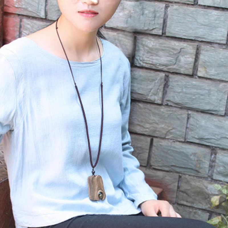 Необычные сандалии с геометрическим узором деревянная подвеска ожерелье длинная цепочка ручной работы ювелирные изделия Винтаж камень бисер ожерелье для женщин подарок
