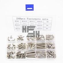 240pcs/lot 304 Fasteners wood stainless steel self tapping box flat head screw with nut washer M3M4M5 GB819 DIY kit недорго, оригинальная цена