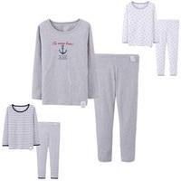 2017 Children Summer Clothing Boys Casual Cotton Outfit Kids Sailor Pajamas Set Homewear Short Sleeve T