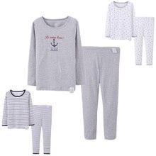 2017 Nouveaux Enfants Coton Pyjamas Set Garçons Sous-Vêtements Long Johns Enfants Casual Homewear Plein Gilets À Manches Top + Pantalon Long 2-16Y