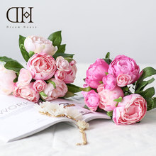 Dream House DH Artificial Flowers Peony Camellia Bouquet Home Wedding Decoration fleur artificielle flores