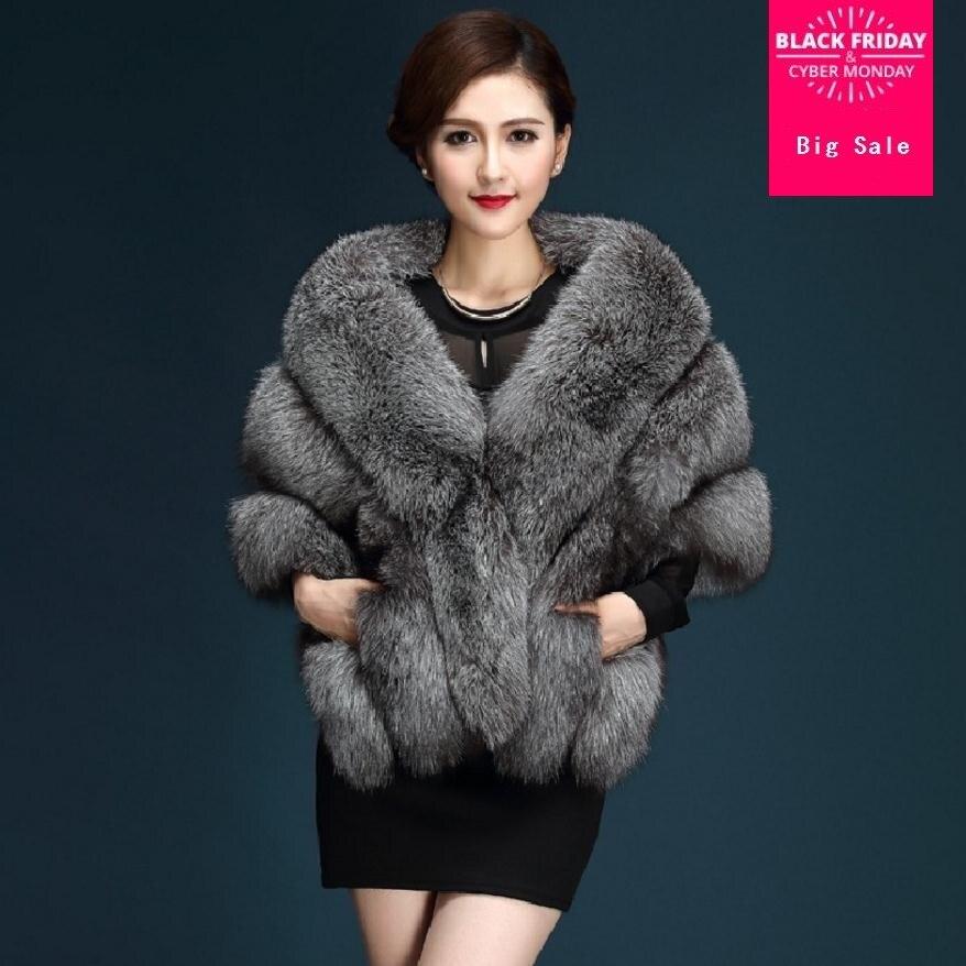 2019 Winter Faux Fur Coats luxury fox fur imitation mink fur poncho bridal wedding dress shawl cape women vest fur coat wj1572