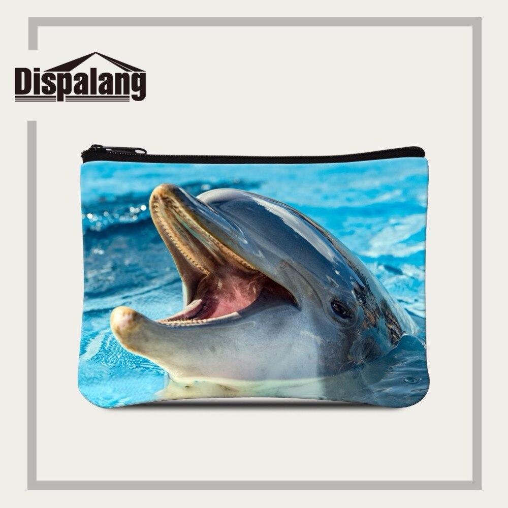 Dispalang children wallets cute dolphin print women girl coin card purse zipper bag animal pattern small zip change purse wallet