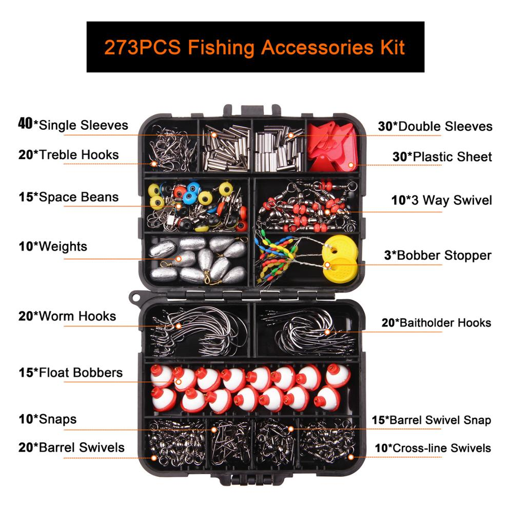 202pcs Fishing Accessories Kit Soft Lures Jig Hooks Bobbers Gear with Tackle Box