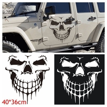 Large Size 40x36CM Skull Head Car Stickers and Decals Reflective Vinyl Car Styling Auto Engine Hood Door Window Car Decal spider web hood rear window auto car vinyl decal stickers