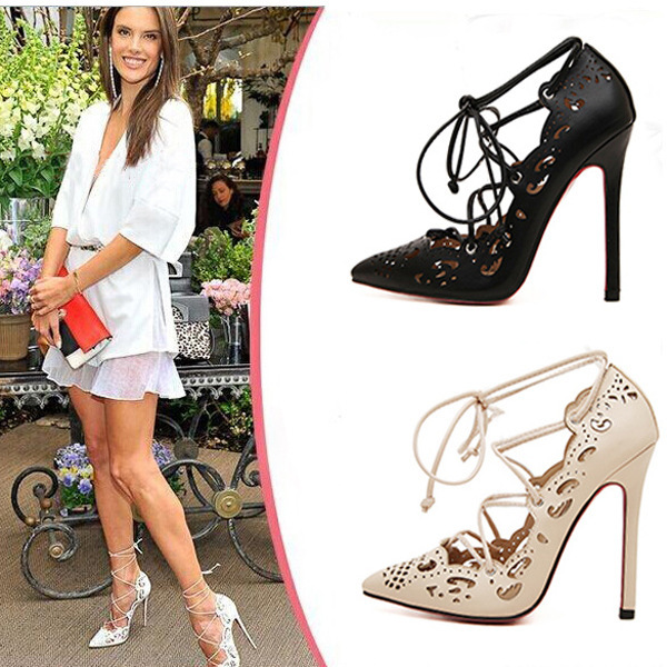 7c7e009a422e Lace Up Gladiator Heels New 2015 Fashion Ladies Pointed Toe Red Bottom High  Heels Party Shoes For Women Summer Style Woman Pumps-in Women s Pumps from  Shoes ...