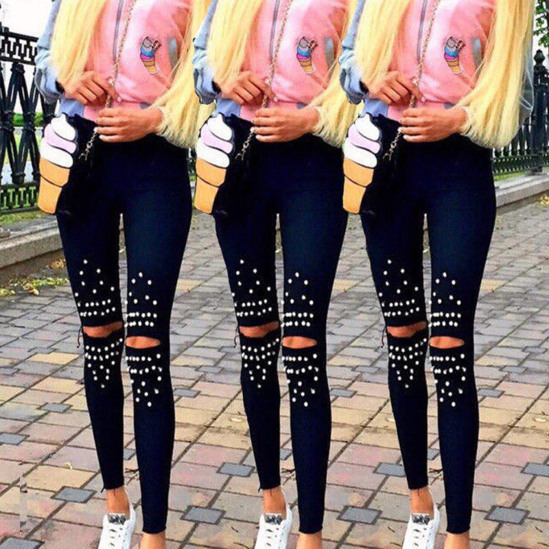 2017 Fashion Women Denim Skinny Ripped Pants High Waist Stretch Jeans Slim Pencil Trousers пламенная роза тюдоров