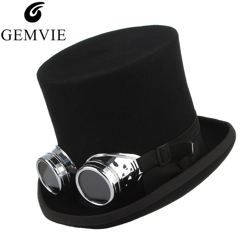 GEMVIE 100 Wool Felt Top Hat With Glasses Fedoras Rock Band Hat For Men Women Steampunk