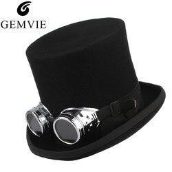 GEMVIE 100% шерсть фетровая шляпа с очками фетровая рок группа шляпа для мужчин женщин стимпанк костюм шляпа Mad Hatter шляпа-цилиндр