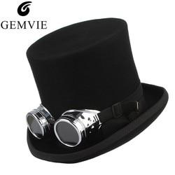 GEMVIE 100% Wolvilt Top Hat Met Glazen Fedora Rock Band Hoed Voor Mannen Vrouwen Steampunk Kostuum Hoed Mad Hatter cilinder Hoed