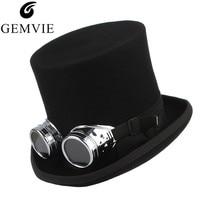 GEMVIE 100% Wool Felt Top Hat With Glasses Fedoras Rock Band Hat For Men Women Steampunk Costume Hat Mad Hatter Cylinder Hat