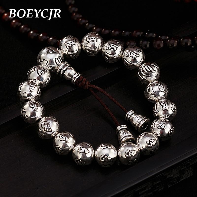 BOEYCJR 10mm perle S925 argent bouddhiste Runes perles Bracelets & Bracelets bijoux fins fait main Bracelet énergétique pour femme ou homme