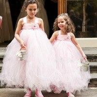 Розовый цвет мягкие для девочек в цветочек свадебное платье-пачка Милые Дети Пушистый бальное платье официальная Вечеринка Тюль Платья для...