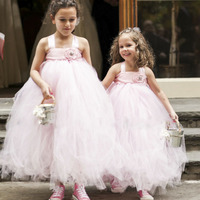 Pink Color Soft Flower Girl Wedding Tutu Dress Cute Kids Fluffy Ball Gown Formal Party Tulle
