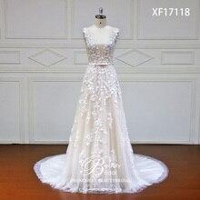 Robe de mariée en dentelle japonaise, avec fleurs sur mesure, avec perles de cristal, robes de mariée bonne qualité, modèle offres spéciales, XF17118