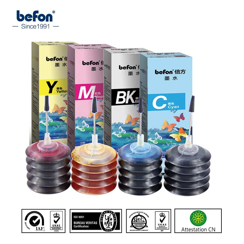 Befon Ink-Kit Refill-Dye X4-Color Canon HP for 21-22-301/121/140/.. Pg40/Cl41/Pgi470/Cli470 title=