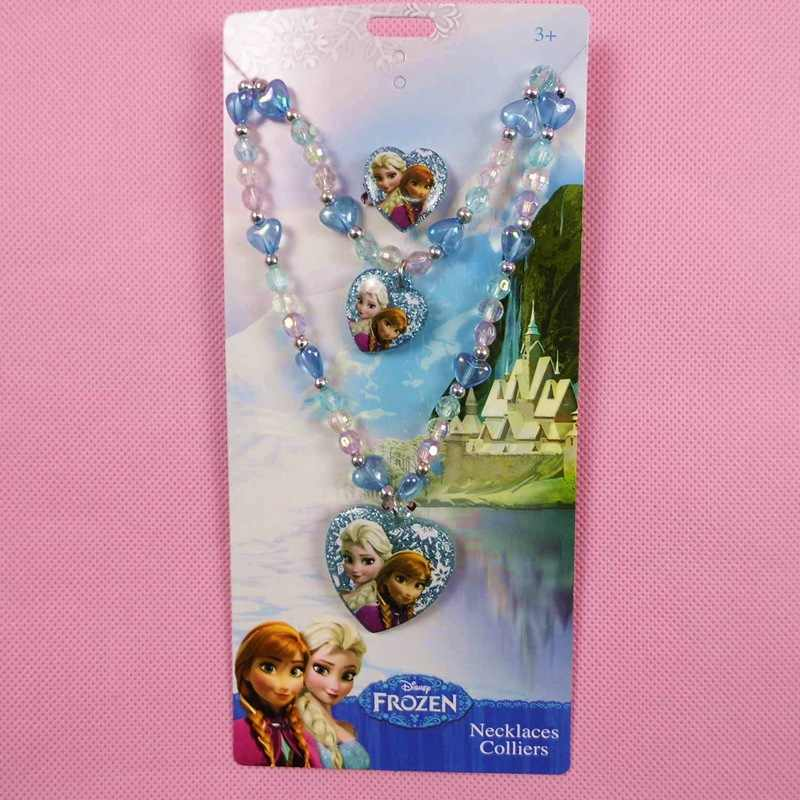3pcs/set Disney cartoon Necklace +bracelet+ ring Frozen Elsa girl doll jewelry children day birthday gift accessories cosmetic