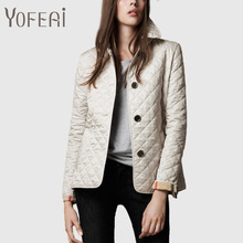 YOFEAI НОВЫЙ Женщины Куртки Осень Хлопка Куртки Fahsion Повседневная Тонкий Пальто Мода Верхняя Одежда Плед Квилтинга Стеганый Парки