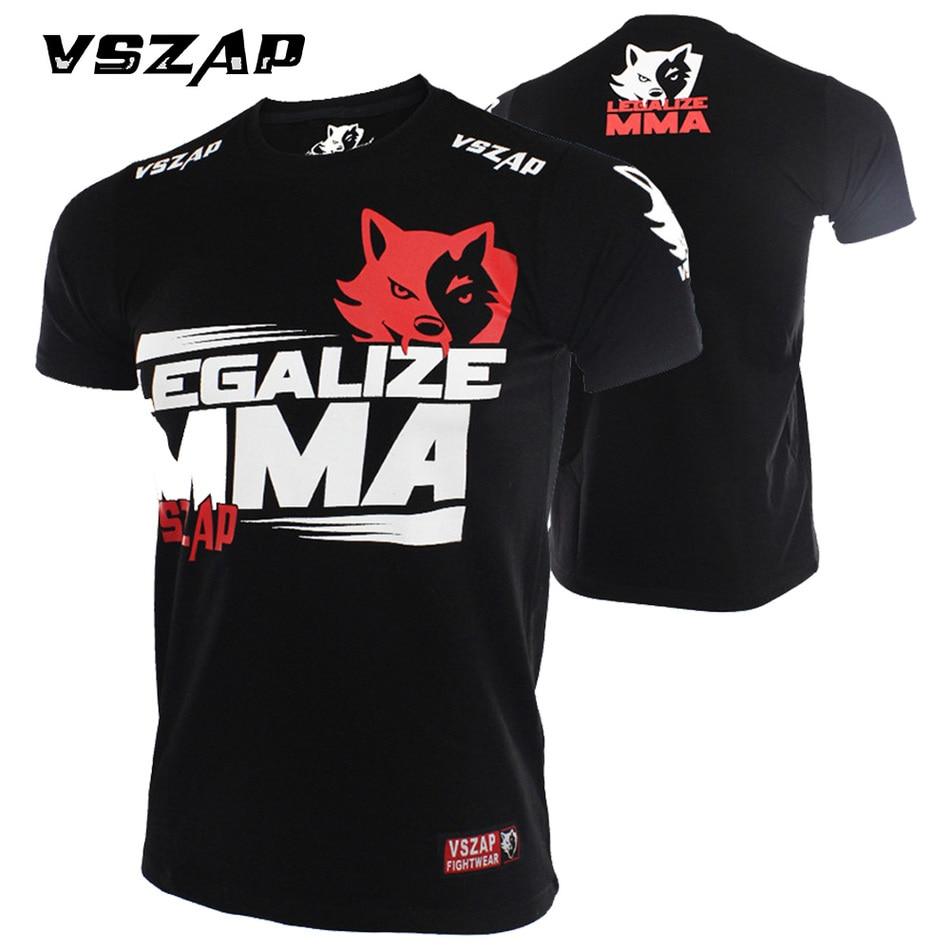 2017 VSZAP Boxing T Shirt Men MMA Gym Kickboxing  Muay Thai Boxing Training Cotton Breathable Comfortable Mma Shorts Fight Pant