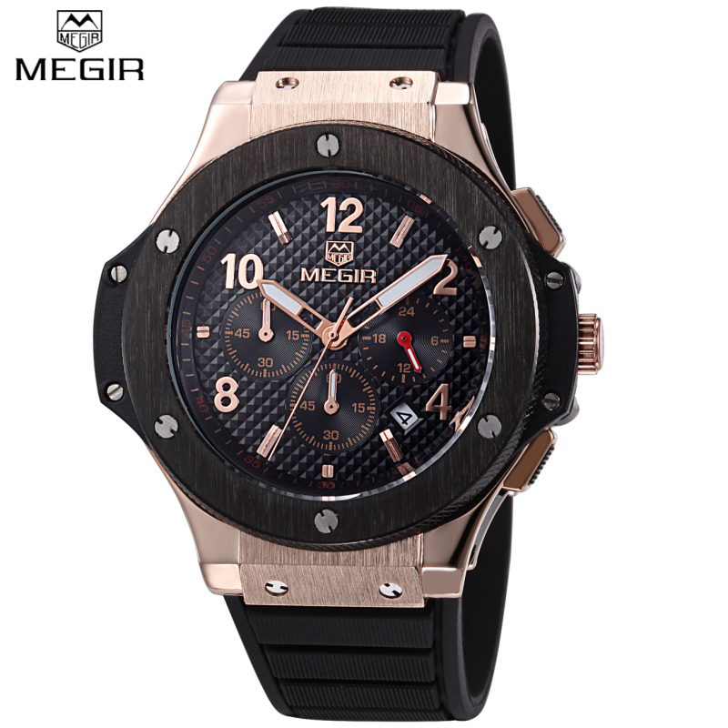 2017 New Luxury Brand MEGIR Fashion Sport Watches Men s Quartz CHRONOGRAPH 24 Hours Function Clock