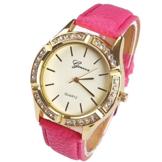 51537846f19 Gnova Platinum Rhinestone Ouro Mulheres Relógio de Genebra Estilo 7 pontos  estrelas Aro de Cristal de