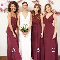 Mismatched Maroon Long Chiffon Bridesmaid Dresses A B C Burgundy Custom made Bridesmaids Gown Wedding Party Dress JQ87