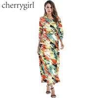 CHERRYGIRL Mujeres Elegantes Fajas Invierno Femme Robe Lace Up 3/4 de La Manga V Cuello de Impresión Dres Vestidos de Otoño vestidos de Las Señoras vestidos