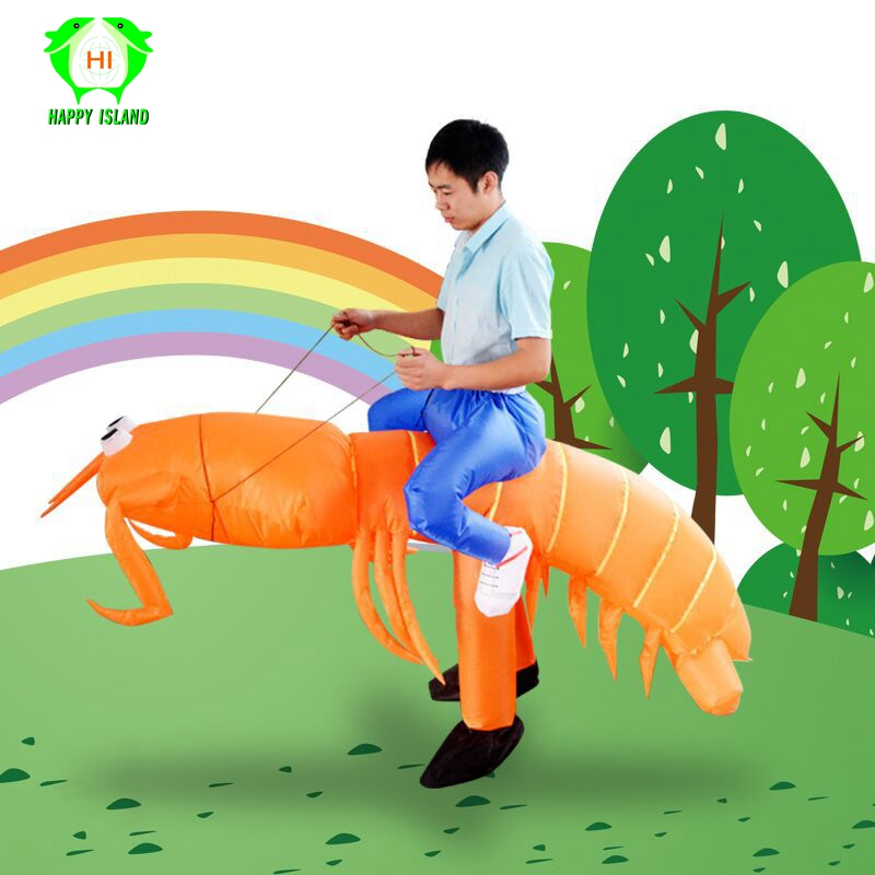 Newest Funny Ride Inflatable Pipi Shrimp Costumes Halloween Cosplay Costume For Adults Women Men Polyester Inflatable Costumes