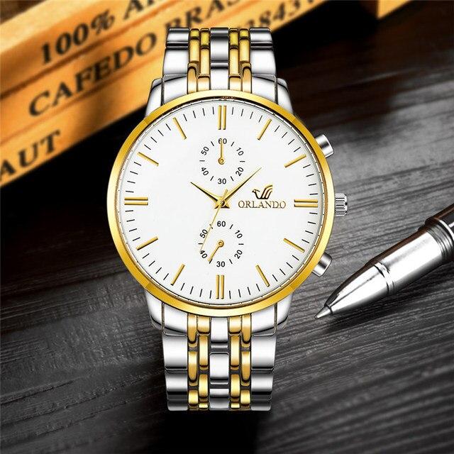 ORLANDO Fashion Quartz Men's Silver Gold Plated Stainless Steel Wristwatch  2