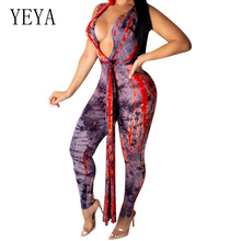 YEYA Fashion Casual Printed Jumpsuit Summer Sexy Deep V Neck Tie Up Playsuit Women Elegant Vintage Bodyson Party Overalls