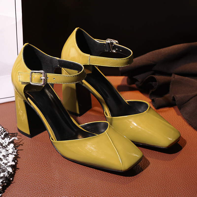 Boucle Chunky jaune Carré En Noir Nouvelle Profonde Stylesowner Chaussures Pompes Bout Hauts Brevet Arrivée Cuir 2018 À Talons Véritable Peu Bouche xwv4p