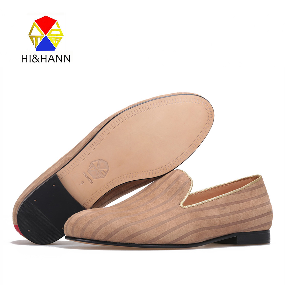 HI&HANN striped design Men Cotton Fabric shoes Fashion Party and Banquet men loafers Leather bottom and insole men dress shoes