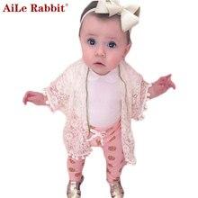 AiLe Rabbit Spring Cotton Baby Girls Cardigan Coat Spend Three Flowers Lollipops Dot Jacket Cardigan Kids Children Clothing k1