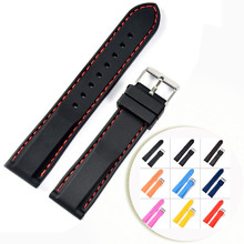 NEW Silicone Rubber Watchbands Strap Stainless Steel Buckle Black Red Stitched Waterproof Diving 20mm 22mm Watch Band Strap