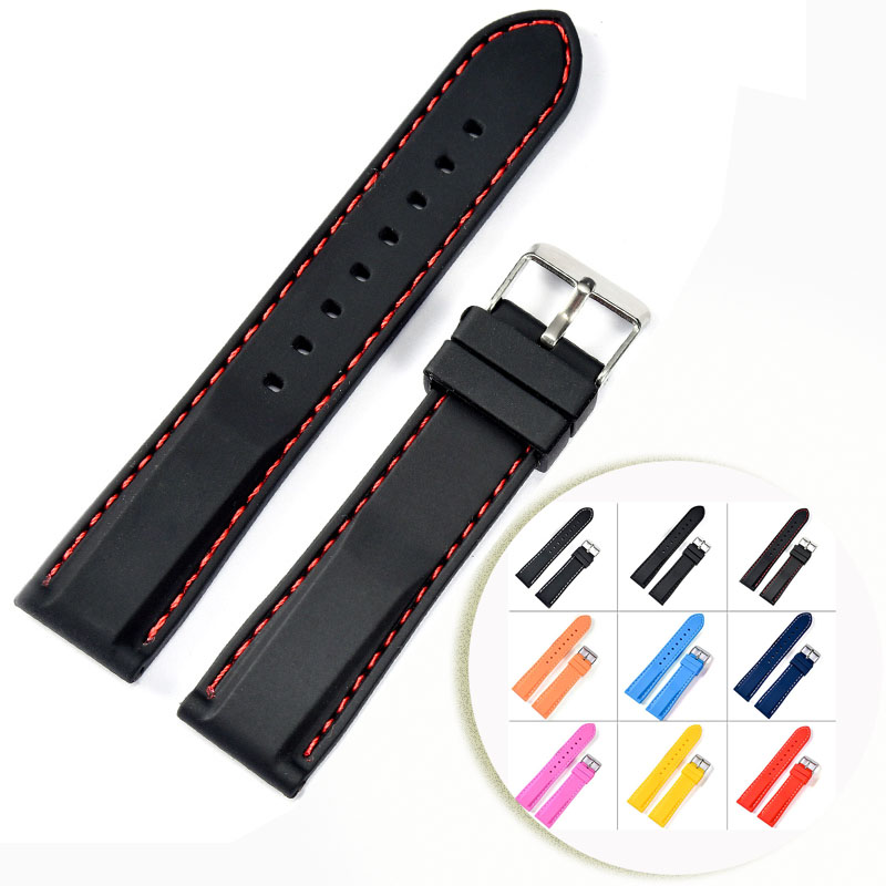 Silicone Rubber Watchband Strap Stainless Steel Buckle Black Red Stitched Soft 20mm 22mm Watch Band Strap Watch For Men Women