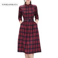 2017 Vintage Autumn Women Midi Dress Fashion Stand Neck Plaid Female Vestidos Retro Winter Long Sleeve Shirt Dress with Pockets