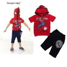 Kiqoo New Arrival Boy's 2 pcs Clothing Sets Fashion Short-sleeve Spider Man Hooded T Shirts+Shorts for Summer
