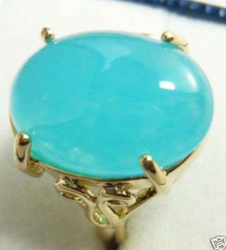 Fine light blue หยกลูกปัด fine อัญมณีแหวน (#6,7, 8,9, 10) จัดส่งฟรี