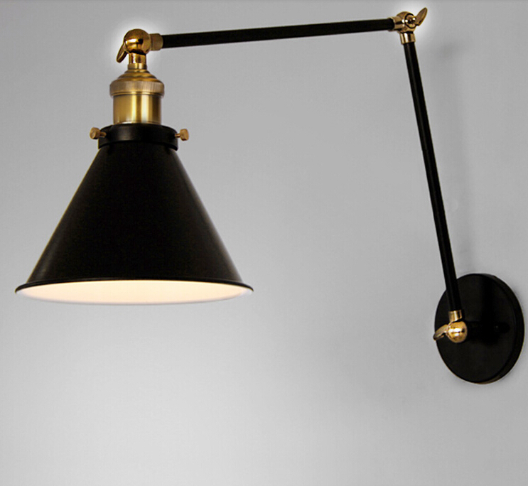 Vintage Loft Swing Arm Wall Sconce Retro Warehouse Ambient Lighting Black Lampshade Lamp With E27 New Modern In Led Indoor Lamps From