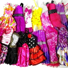 Randomly Pick 10 Pcs Mix Sorts Beautiful Handmade Party Dress Fashion Clothes For Barbie Doll Best Gift Kids Toys