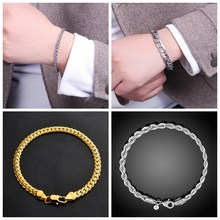 Bracelets For Women Men Silver Gold Curb Cuban Link Figaro Link Chain Bracelet Fine Fashion Party Jewelry Stainless Steel Alloy(China)