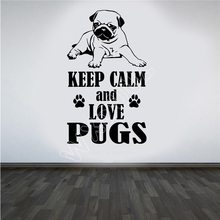 8f14f222668 WXDUUZ Animal Love Pugs DIY Wall Art Sticker Decal Vinyl living room space Wall  Sticker